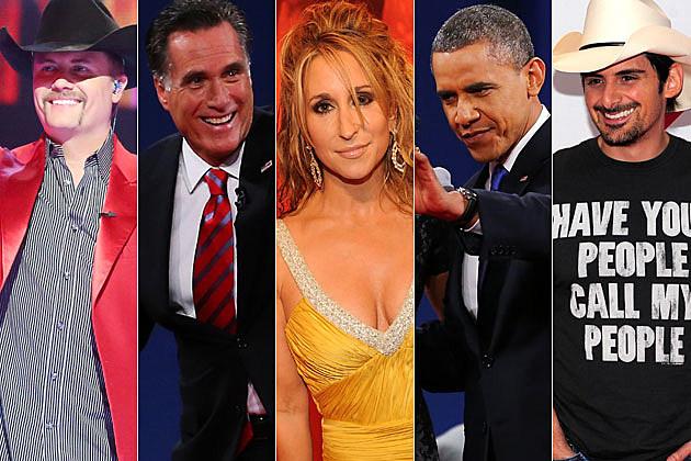 John Rich, Mitt Romney, Heidi Newfield, President Obama, Brad Paisley