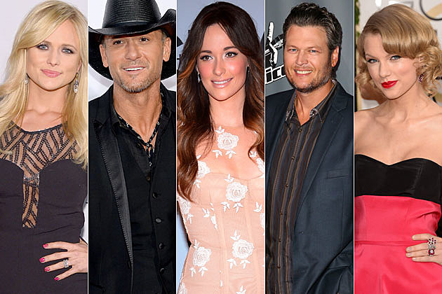 Miranda Lambert, Tim McGraw, Kacey Musgraves, Blake Shelton, Taylor Swift