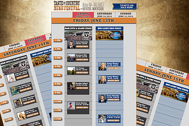 Taste of Country Festival Daily Schedule Preview