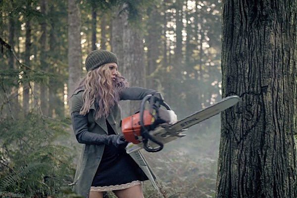 The Band Perry Saws Down Trees In Chainsaw Music Video