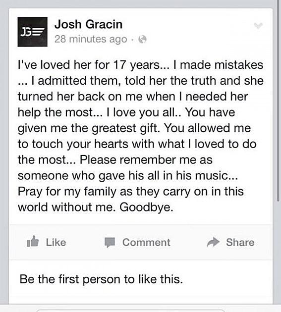 Suicide Notes: Josh Gracin Posts Suicide Note